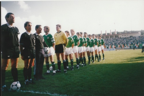 Republic of Ireland team lining up. Copyright - BM.