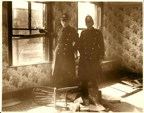 Gardaí inside Connolly House after it was attacked by a mob. March 1933. (Authors collection)