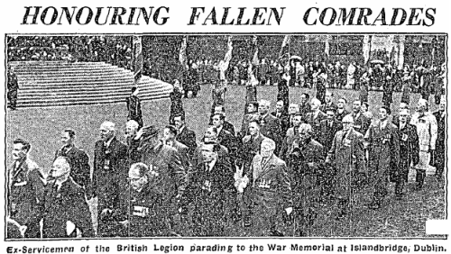 Independent photo showing  parading veterans in the Memorial Gardens, November 1957.