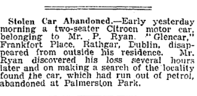 A common newspaper mention. The Irish Press, 25 Oct 1932.