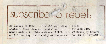Address for Rebel/RS, 1981.