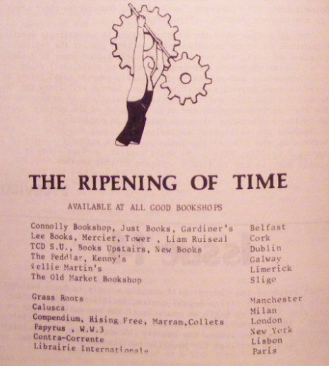 List of bookshops where 'The Ripening of Time' was available. c. 1980
