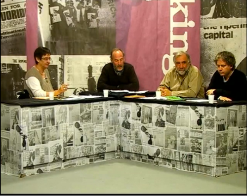l-r, Ursula Barry (member of The Ripening of Time collective), Seán Ó Siochrú (presenter), Michael Youlton (also member of collective), Conor McCabe (historian). From 'Looking Left: The Ripening of Time - Episode Two', June 2009.