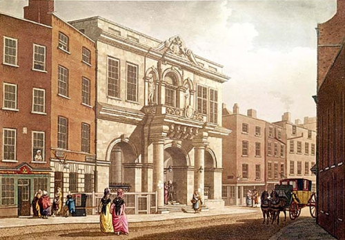 A 1793 illustration of the Tholsel, Dublin. (Malton)