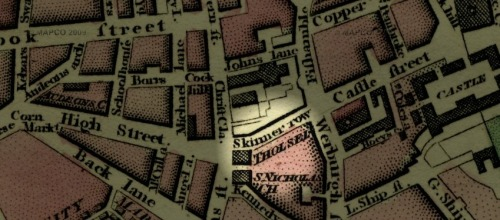 The location of the Tholsel historically in Dublin. From 1798 map of Dublin. Credit: http://dublin1798.com/