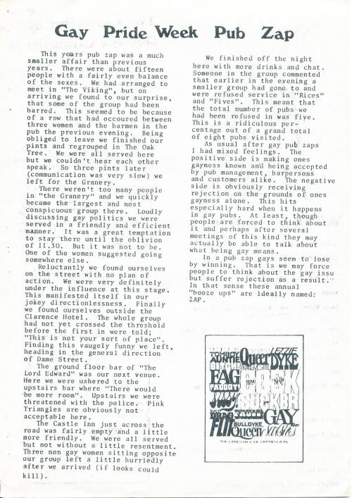 Credit: Gay Pride Week 1982. NGF Newsletter, July 1982. Report of GPW Pub Zap, unattributed (probably Bill Foley or Liam Whitelaw).