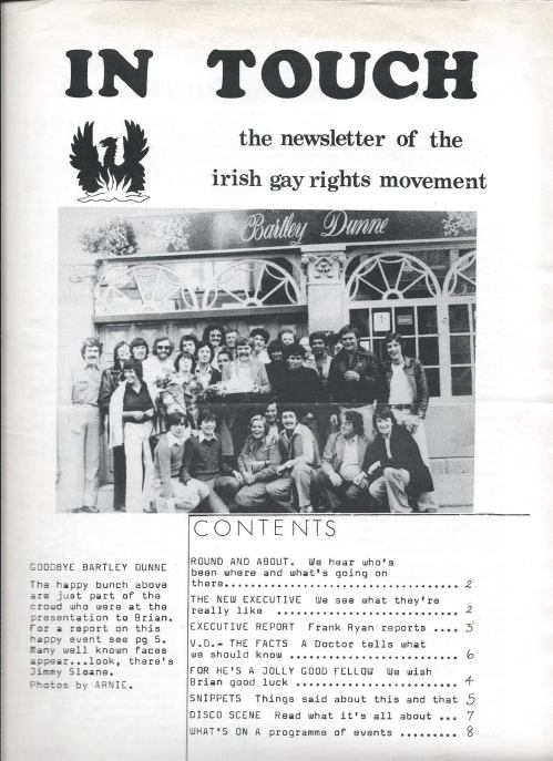 Front cover of 'In Touch' magazine showing a group of Irish Gay Rights Movement members outside Bartley Dunne's in 1977. Credit - IGRM 40 Years (facebook.com/igrm40)