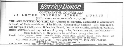 Advertisement for Bartley Dunne's, 1969. Credit - Cedar Lounge Revolution