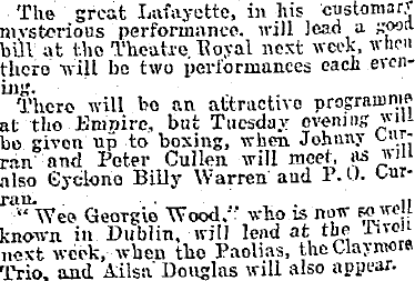 June 1910 advertisement for a boxing match featuring the Cyclone.