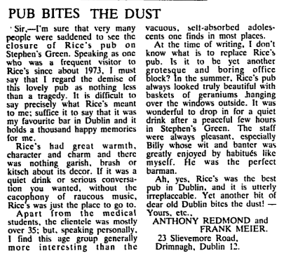 Letter to Irish Times re: knocking down of Rices. 28 Jan 1986