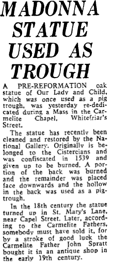 1974 Irish Independent article on the statue.