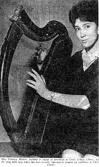 The harp photographed in 1962, following restoration at the British Museum (The Irish Times)