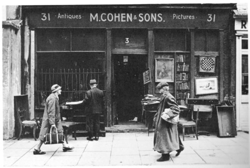 M. Cohen & Sons antiques shop. Perhaps the one mentioned in the Witness Statement. Photograph taken by Tom Kennedy. Scanned from 'A Sense of Ireland' programme.