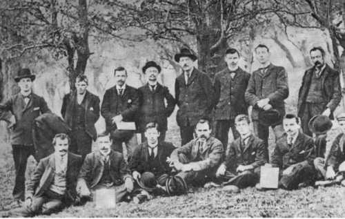 Members of the Irish Socialist Republican Party (ISRP) photographed in the Phoenix Park, May 1901. Credit - http://multitext.ucc.ie