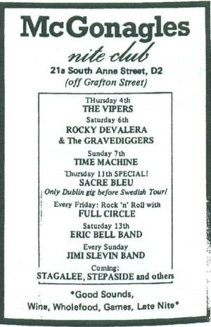 The Vipers, McGonagles (May 1978). Scanned by 'U2 & Dublin '76 to '80' Facebook page.