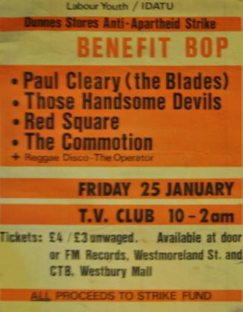 One of several Anti-Apartheid/Dunnes Strike benefit gigs Paul played. January 1985. Scanned by Shay Ryan.