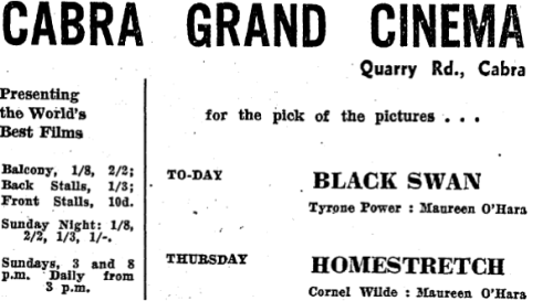 Advertisement for the new cinema.
