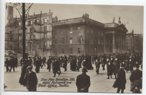 Postcard showing the intense damage to Sackville Street, issued in 1916.