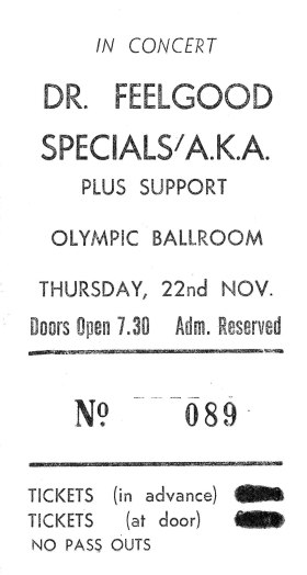My ma's ticket stub for the Dr Feelgood/Specials/Blades gig. November 1979.