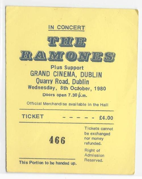 Ticket to the Ramones gig. Uploaded to the brilliant Facebook page 'Classic Dublin Gigs' by James Aquafredda Sr.