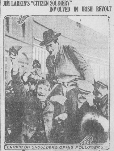 The Daily Capital (Oregon) reports on the involvement of followers of Jim Larkin in 1916 rebellion.