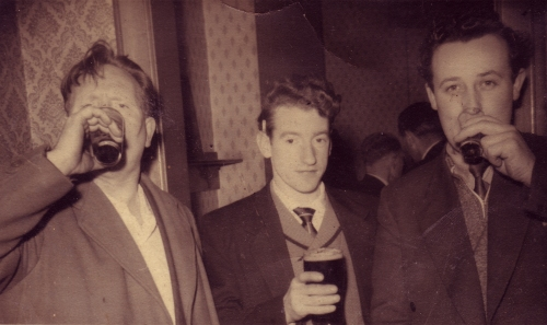Three lads drinking. nd.