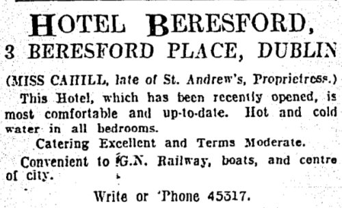 Advertisement for the Beresford Hotel (Irish Times, 30 May 1931)