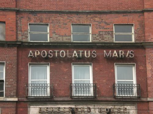 Detail of 3 Beresford Place. Apostolatus Maris ('Apostleship of the Sea) is the Catholic Church's maritime agency. Credit - Boards.ie user WishboneAshe
