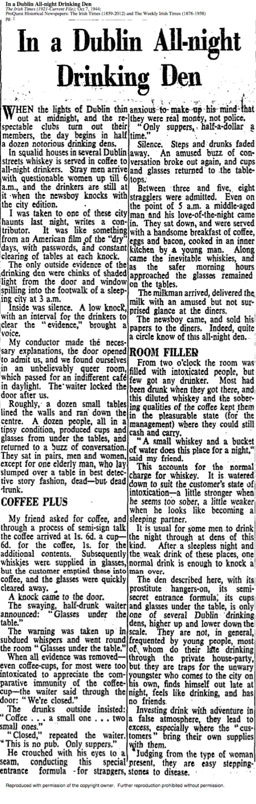 'In a Dublin All-night Drinking Den'. The Irish Times, 7 Oct 1944.