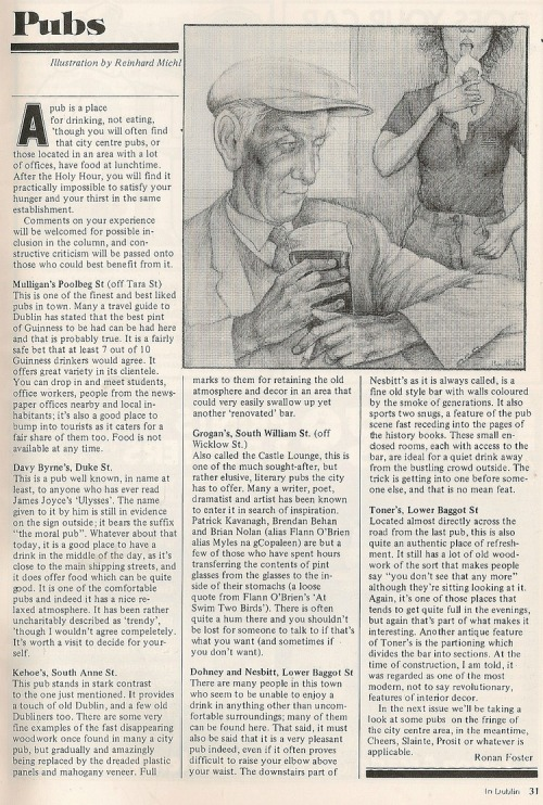 Pub review. In Dublin 1977. (Credit -  David Denny2008)