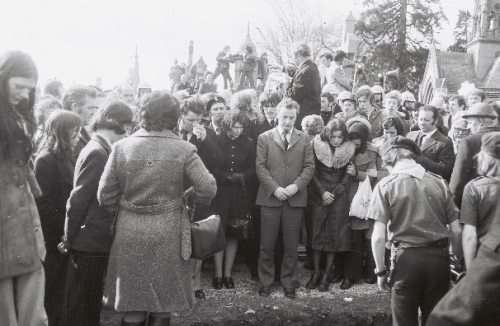 Funeral of IRA member Tom Smith in Glasnevin, 1975. Credit - Coleman Doyle via Shane MacThomais.
