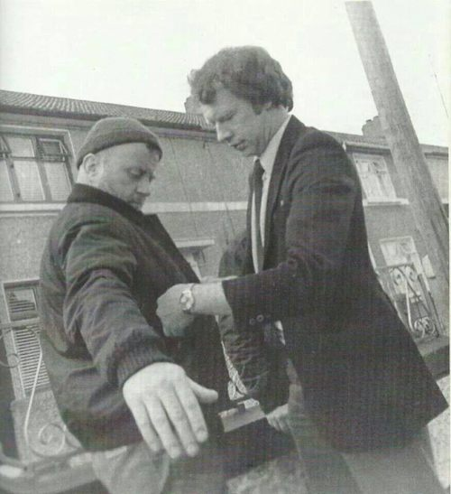A candid shot of a member of the Special Branch stopping Christy Moore in Ballyfermot, which recently picked up huge traction online, with thousands of likes on a variety of Facebook pages. The image was published in 'One Voice: My Life In Song'