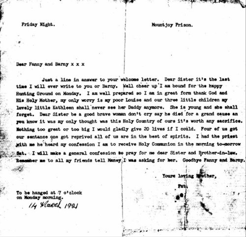Letter from Patrick Doyle to his sisters a few days before his execution. Credit - ailishm49.