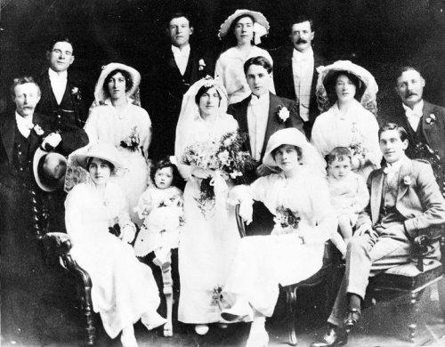 Wedding photo of Sarah Doyle and John Woods, 1915. Credit - ailishm49