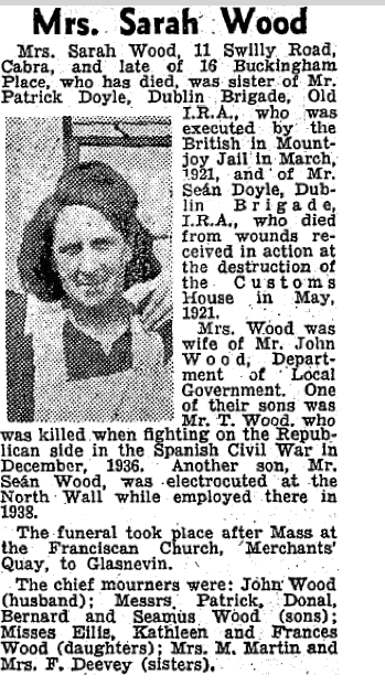 Sarah Woods - Irish Press (29 Oct 1941)