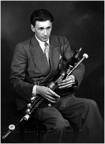 A young Seamus Ennis playing the pipes he loved so much.