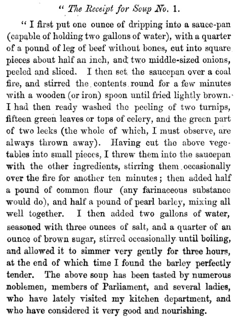 A recipe sent by Soyer to The Times newspaper in 1847.