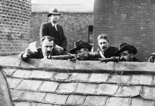 Members of the Irish Citizen Army, an armed trade union force, on the roof of Liberty Hall.