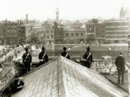 The tower of Tara Street Fire Station is visible in this picture taken from the roof of Liberty Hall.