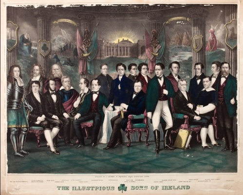 'The Illustrious Sons of Ireland' - An 1875 print that featured Brian Boru alongside Irish nationalist heroes such as Wolfe Tone and Robert Emmet (NLI)