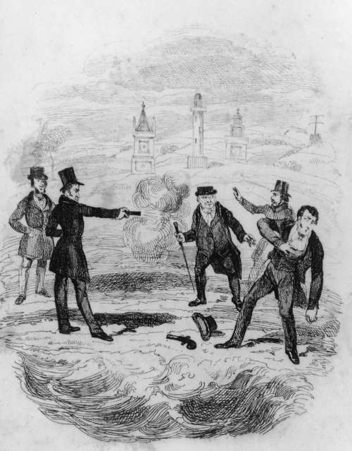 A striking illustration of two men engaging in a duel (Image credit: http://history1800s.about.com/od/majorfigures/ss/duels19thcentury.htm)