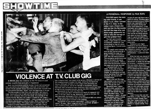Anti-Nowhere League, TV Club. Hot Press - October 1984