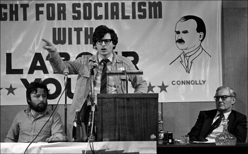 Joe Higgins shares a platform with the late Tony Benn, 1982. (This great image was captured by Derek Speirs)