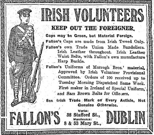 'Keep Out The Foreigner!' - a contemporary advertisement for a supplier of Irish Volunteer uniforms. Boru's memory was often evoked by the Volunteers, who even named their Ennis Corps after him.