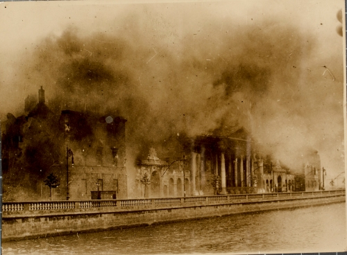 An iconic image of the Four Courts ablaze.