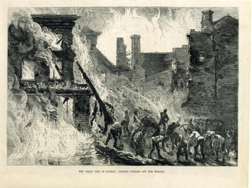 The Illustrated London News reports the blaze. (Image digitised by South Dublin County Libraries, http://source.southdublinlibraries.ie/handle/10599/11048)