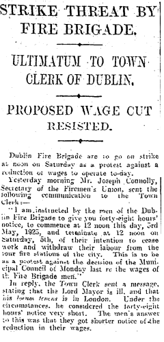 A 1923 Irish Times newspaper report on an industrial dispute involving the Dublin Fire Brigade mentions Joe Connolly as the representative for the men.