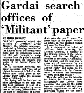 Irish Times report of 1984 raid on the offices of Militant.