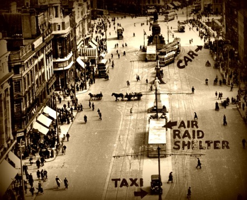 Image taken from the Nelson Pillar showing an air raid shelter on O'Connell Street during WWII.
