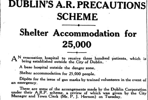 The Irish Times of 11 November 1939 details Dublin's planned precautions.